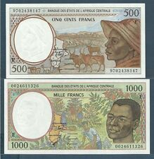 Central African States 500, 1000 Francs Set, 1997 / 2000, Cameroun, UNC