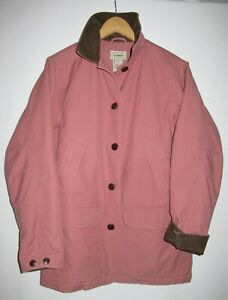 LL Bean Womens S/M Small Barn Jacket Field Coat Pink Corduroy Insulated OWY28