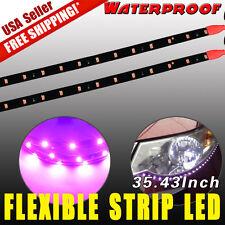 2x High Power 90CM 2835 SMD Waterproof Purple Flexible Car Motor LED Light