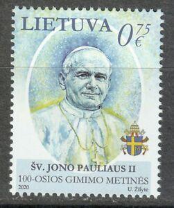 Lithuania 2020 MNH Pope John Paul II / Karol Józef Wojtyła  **