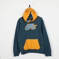 Vintage Kids NIKE SB Big Logo Hoodie Sweatshirt Green Yellow | XL