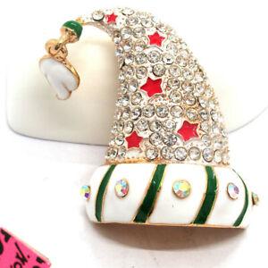 Betsey Johnson Green Enamel Cute Star Christmas Hat Crystal Brooch Pin Gifts
