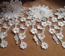 blanco crudo DE BODA Listón encaje 16.5cm Guipure Cinta Ribete Floral Costura