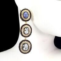 Unheated Oval Blue Aquamarine 10x8mm Tanzanite Cz 925 Sterling Silver Earrings