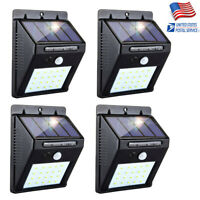 4x Outdoor 20 LED Solar Light Power PIR Motion Sensor Garden Yard Path Wall Lamp