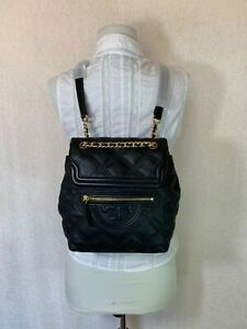 NEW Tory Burch Black Leather Mini Soft Fleming Quilted Backpack $458