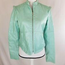 Collection by Bernardo Womens Faux Leather Biker Jacket Size Medium Aqua Zip Up
