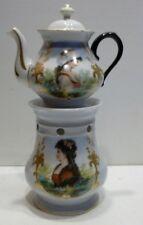 Belle TISANIÈRE VEILLEUSE en Porcelaine à Décors peints (1)