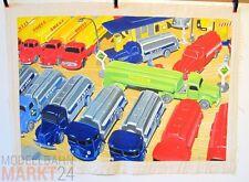 Öl-Bild auf Leinwand Tankwagen-Fuhrpark Illustration von WIKING-Modellen 54x79