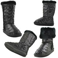 Girls Fold Over Mid Calf Boots w/ Sequins Accent Faux Fur Trim Black Size 10-5