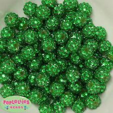 14mm Christmas Green Rhinestone Resin Bubblegum Beads Lot 20 pc.chunky gumball