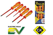 CK Triton XLS Insulated 5 Pce 1000v VDE Pozi/Slot Screwdriver Set Pz1, Pz2 T4729