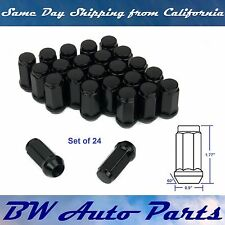 "24 Bulge Acorn Lug Nuts M14x2.0 Black 1.77"" Tall Ford Expedition F150 Navigator"