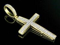1.50Ct Round Cut VVS1/D Diamond Cross Shape Charm Pendant 14k Yellow Gold Finish