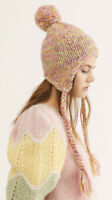 Free People Fox Trot Knit Trapper Hat Pink One Size NWOT $38