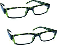 2 -The Reading Glasses Company Green Tortoiseshell Lightweight Comfortable +1.50
