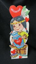 Vintage Native American & Pot Valentine card c. 1950s