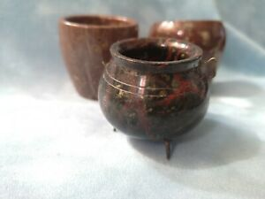 Antique / Vintage Cornish Serpentine 2 Pots & cauldron
