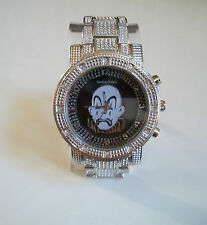 Men's big sad face hip hop CZ Bling silver finish metal bracelet fashion watch