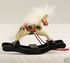 Vintage Rocking Horse Painted Wood With Fluffy Mane Xmas Tree Ornament Decor