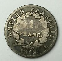 Dated : 1812 - Silver Coin - France - 1 Franc - One Franc Coin - Napoleon I