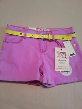 Girls l.e.i. Chelsea Low Rise Purple Shorts with Yellow Belt NWT size 12