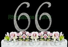 NEW Large Rhinestone  NUMBER (66) Cake Topper 66th Birthday Party Anniversary
