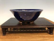 "Beautiful Blue Glazed Shohin Size Bonsai Tree Pot By Heian Kosen 4"""