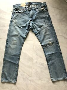 NWT Polo Ralph Lauren Men Distressed Ripped Varick Slim Straight Jeans 32x32