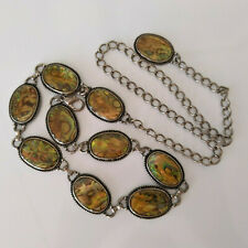 ABALONE Shell Oval Links Antique Finish Chain Belt Length 37