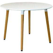 100cm diameter Circular Dining Table With White Tabletop Solid Beech Wood Legs