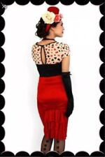 BNWT KITTEN D'AMOUR Fitted Red High Waist Bow Skirt Size 8 SOLD OUT IN STORE