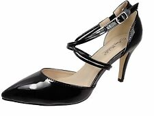 WOMENS HI HEEL COURT SHOES LADIES BLACK SHOESTRING CROSS STRAP