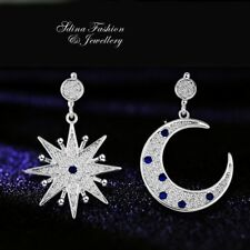 18K White Gold Filled Simulated Diamond Studded Popular Star & Moon Earrings