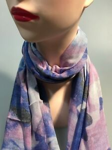 DAVID LAWRENCE BLUE IRIS long modal scarf blue-pink-multi colour new with tag