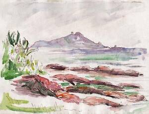 IMPRESSIONIST SEASHORE Watercolour Painting JOHN THIRTLE FRSA c1930