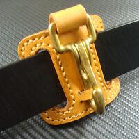 Genuine Leather Belt Clip Keychains Key Ring Holder + Brass Snap Hook Keyrings