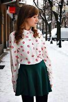 ASOS Blouse Shirt With Lip Red Kiss Lipstick Print (PLEASE READ DESCRIPTION) (a1