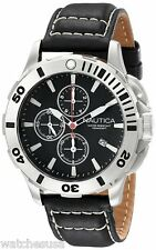 Nautica N18641G Men's BFD 101 Dive Style Black Dial Black Leather Strap Watch