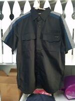 Harley-Davidson Men's Short Sleeve Shirt Black mechanic Vented Button up MEDIUM