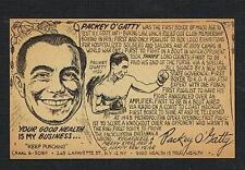RARE PACKEY O'GATTY advertising card late 1940's boxing boxer