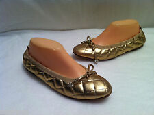 Renata Sartori Gold Leather Ballet Flats Italy Low Heel Shoes Size EU 40 US 9 M