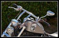 PAIRE de rétroviseur Chrome / Mains de Squelette pour moto custom trike retro