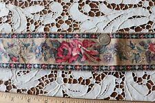 """Antique c1860 French Hand Blocked Rose Chintz Border Fabric Yardage~L-144""""X W-2"""""""