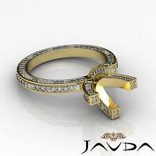Diamond Wedding Ring 18k Yellow Gold Vintage Style Pave Round Semi Mount 1.9Ct