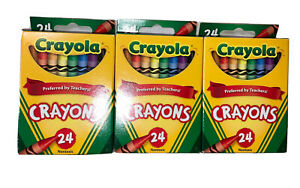 Crayola Crayons 24 Count Box Set of 3 Paper Assorted Colors Nontoxic Colorful