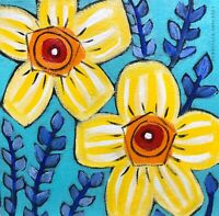Original Painting Of Yellow Daisies On Canvas,Flowers,folk/naive Art,Blue Leaves