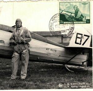 BELGIUM AVIATION Maxi-Card PILOT King Leopold III ROYALTY AirMail 1938 PPC MA513