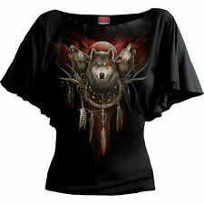 SPIRAL DIRECT CRY OF THE  WOLF BOAT NECK SLEEVE/Wolves/Wild/Tattoo/Tribal/Top