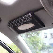 Car Accessories Sun Visor Tissue Paper Holder Clip Black/White Leather Wallet